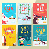 Christmas social media sale banners for mobile website ad. Xmas discount background for online shop web page or cell phone. Promotional poster or flyer layout. Vector holiday promotion newsletter.