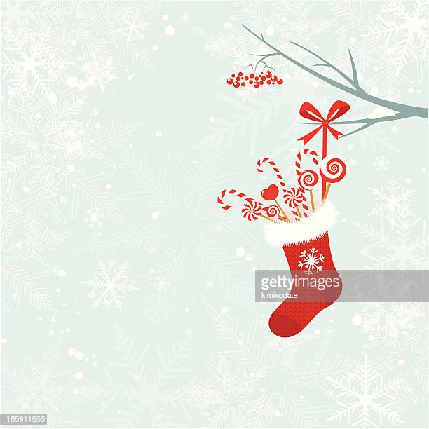 Christmas sock with candy canes