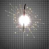 Christmas sparkler isolated on transparent background. Vector