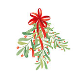 Christmas sprig of mistletoe. Illustration for greeting cards, invitations, and other printing projects.