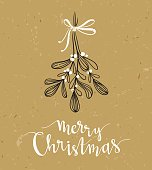 Christmas sprig of mistletoe with holiday lettering - Merry Christmas. Vector illustration for greeting cards, invitations, and other printing projects.