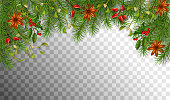 Christmas vector spruce border. Branches of fir tree with decoration. Transparent background.