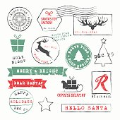 Christmas  Postage Stamps Collection. Vector Illustration.EPS10, Ai10, PDF, High-Res JPEG included.