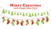 Christmas stockings and christmas tree garlands. Vector banner, greeting card