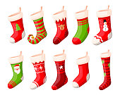 Christmas stockings vector set isolated from background. Various traditional colorful and ornate christmas stockings or socks collection. 3d design illustrations.