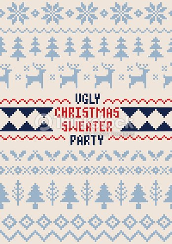 クリスマスパーティーポスター手作りセーターのシームレスなパターン