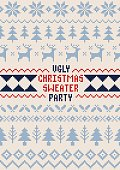 A hand illustrated seamless Christmas pattern created with imperfect square shapes/pixels to have a rough, handmade, arts and crafts feel. This pattern is perfect for your poster, festive design proje