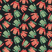 vector seamless pattern with illustration of cute hand drawn Christmas sweaters