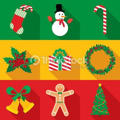 Christmas Symbols Set In Flat Style Vector Art Thinkstock