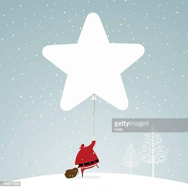 Christmas time santa claus star snowing snow illustration vector