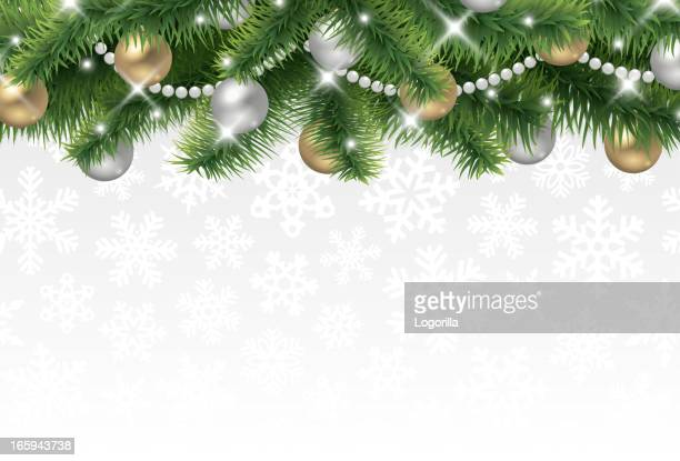 Christmas tree border in front of a cream background