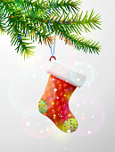 Empty christmas stocking hanging on pine twig. Best vector image for christmas, new years day, decoration, winter holiday, design, new years eve, etc