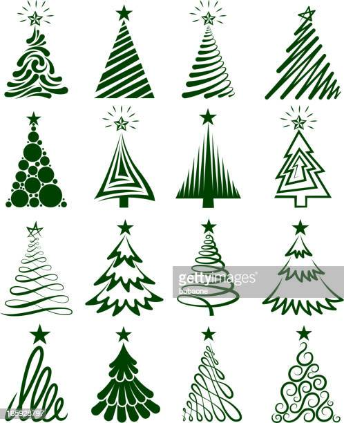 Christmas Tree Collection Royalty free vector graphics