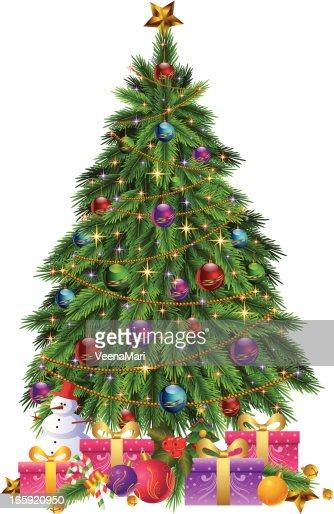 weihnachtsbaum dekoration mit geschenken vektorgrafik. Black Bedroom Furniture Sets. Home Design Ideas