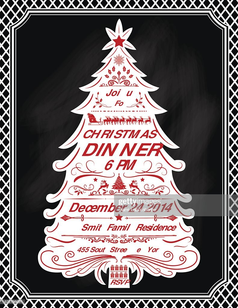 christmas tree dinner invitation template vector art getty images