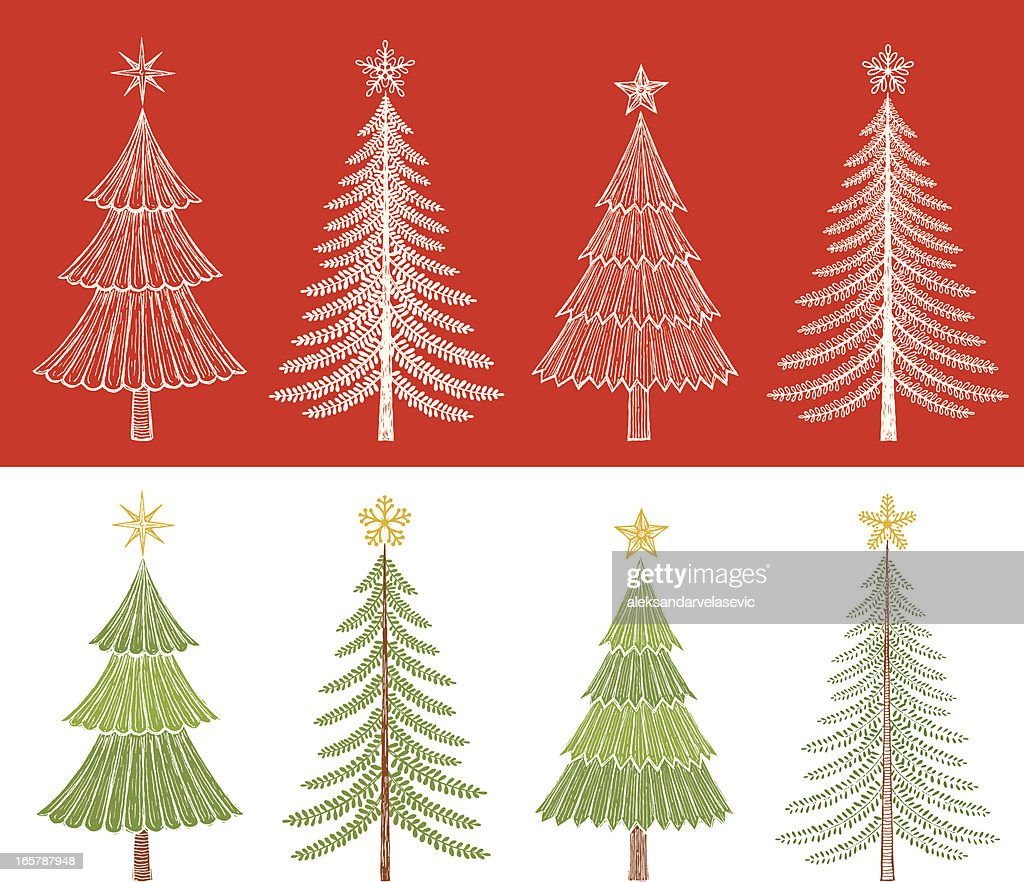 christmas tree drawings vector art getty images