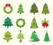 Christmas tree icons set. Christmas tree vector. New Year tree isolated. Christmas tree vector illustration. New Year tree silhouette. Christmas decoration, balls, tree, green tree. Set of Christmas t