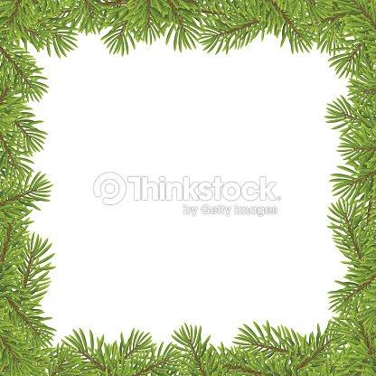 Christmas Tree Frame Isolated On White Background Vector Art ...