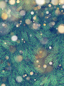 Christmas tree green branches of pine and gold garland lights. EPS 10 vector file included