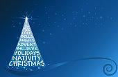 Christmas tree blue greetings card vector image template