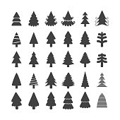 christmas tree icon set, each icon is a single object (compound path), vector eps10..