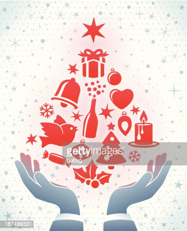Christmas Tree In Hands Vector Art | Getty Images