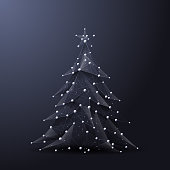 Christmas tree low poly wireframe. Vector polygonal image in the form of a starry sky or space consisting of points, lines, and shapes in the form of stars with destruct shapes. Happy New Year concept