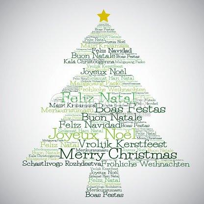 Frohe Weihnachten In Verschiedenen Sprachen.Weihnachtsbaum Hergestellt Aus Frohe Weihnachtenin Verschiedenen