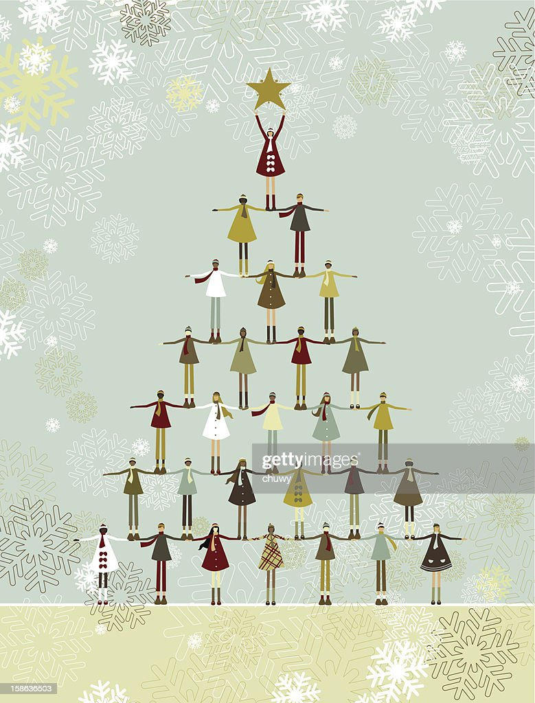Christmas tree of children : Vector Art