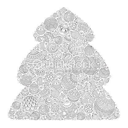Árbol De Navidad Patrón Para Colorear Libro Zentangle Arte vectorial ...