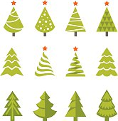 Set of bright green Christmas, fir and spruce trees icons, symbols and logos isolated on white background