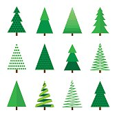 Christmas tree set. Vector illustration