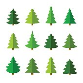 Christmas tree set. Different shapes. Isolated on white background. Flat style vector illustration.