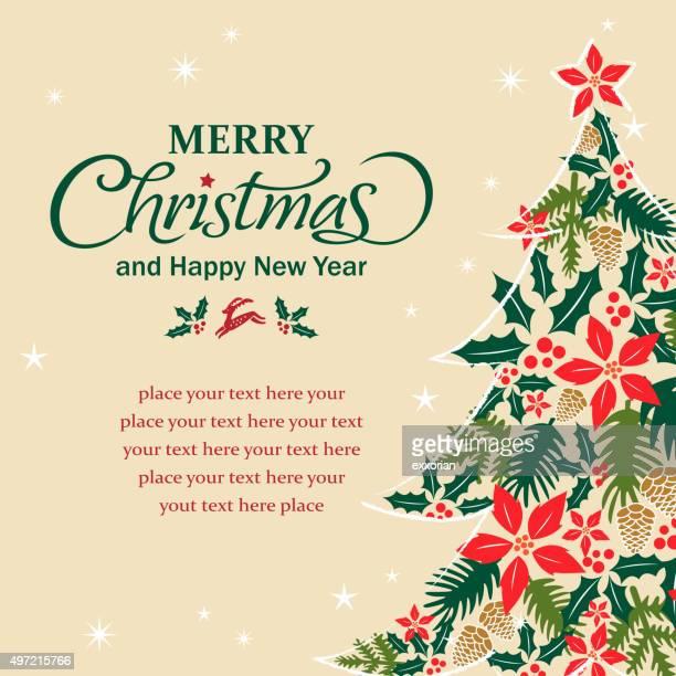 Christmas tree shape form floral elements