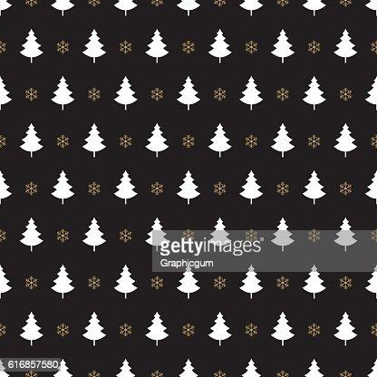 christmas tree snowflake pattern black background : Vector Art