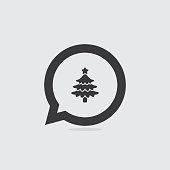 Christmas Tree Speech Bubble Icon