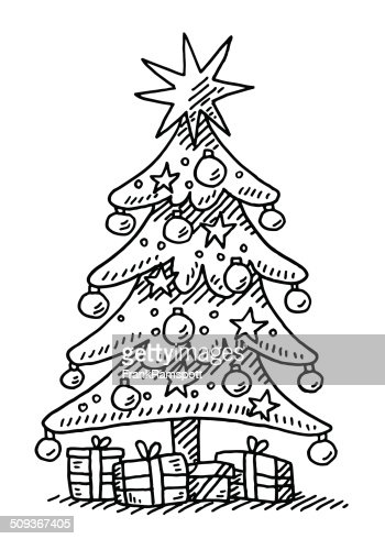 Christmas Tree Star Gift Boxes Drawing Vector Art Getty