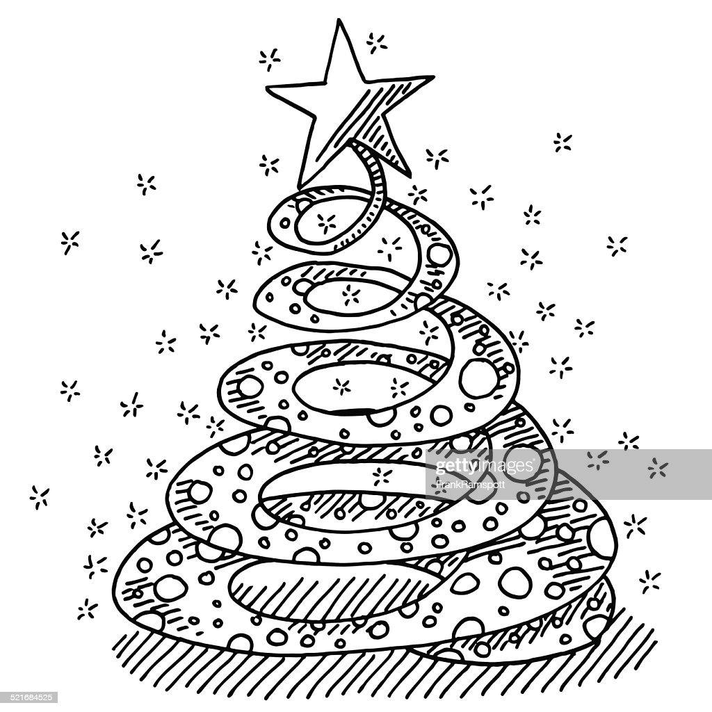 Christmas Tree Swirl Star Drawing : Vector Art