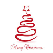 Christmas tree greetings card vector red image template
