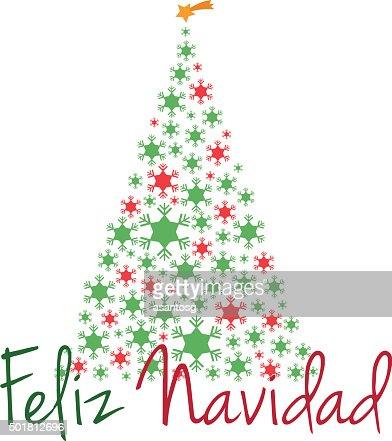 noel en espagnol Arbre De Noël Illustration Vectorielle De Texte Joyeux Noël En  noel en espagnol