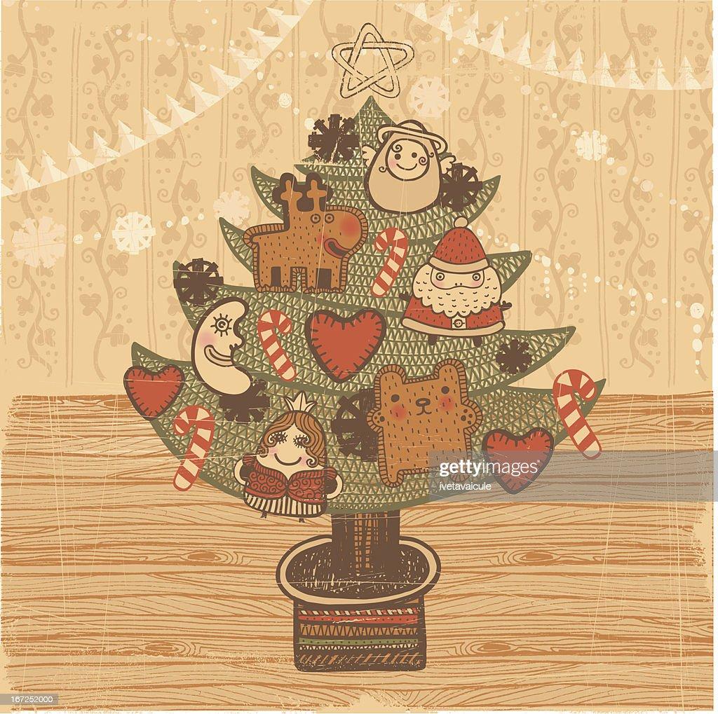 Christmas tree vintage style : Vector Art