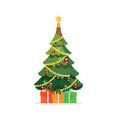 Christmas tree with gifts isolated on white, vector illustration.