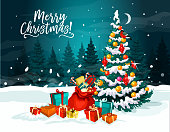 Christmas tree with gift greeting card. Xmas tree, decorated with New Year ball, lights and snowflake, Santa bag with present box, ribbon bow and candy for winter holidays celebration design