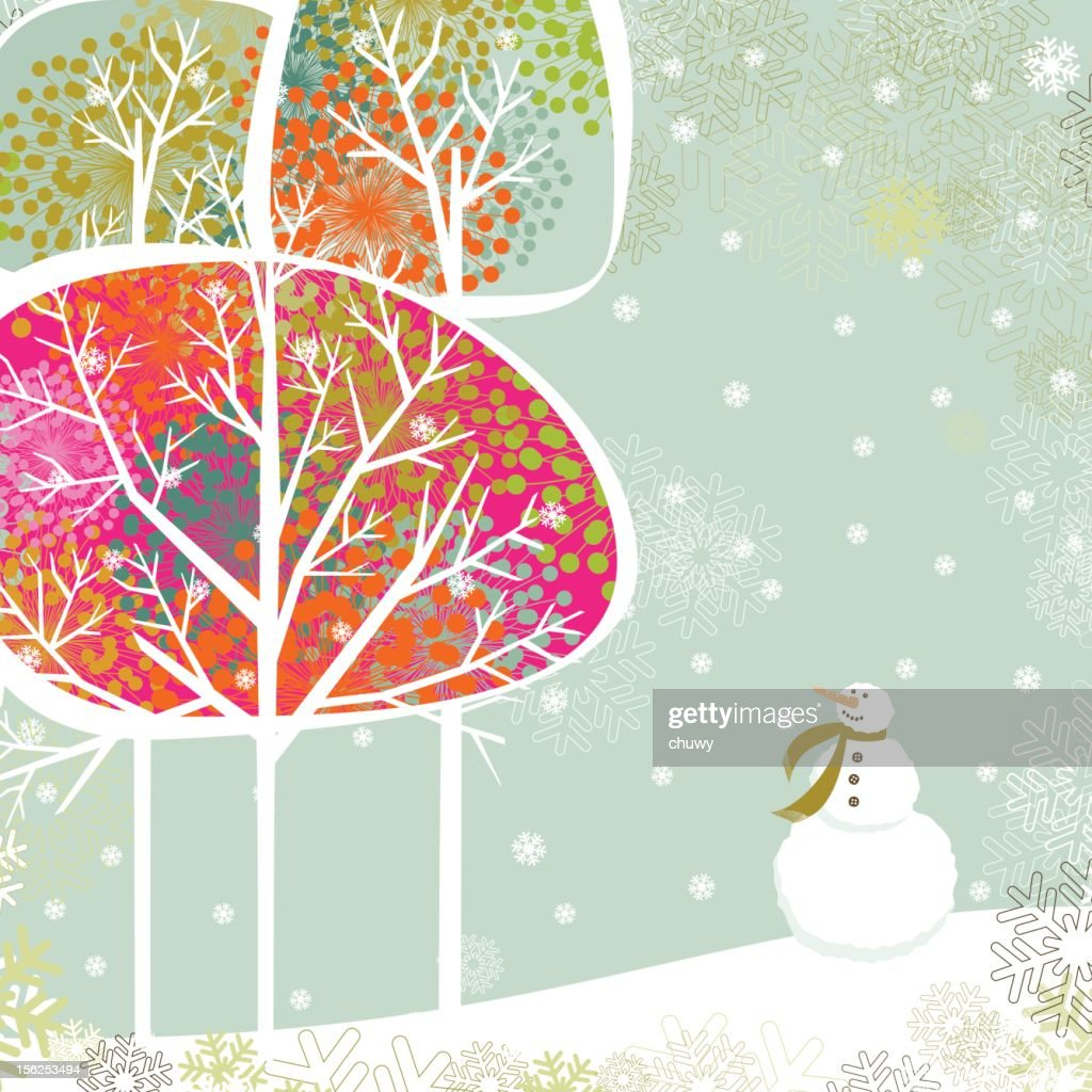 Christmas trees and snowman : Vector Art