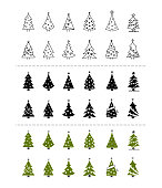 Christmas trees icon set on white background. thin line green and black color. vector illustrator