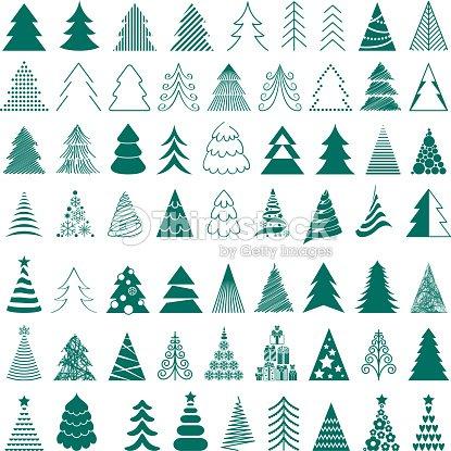 Christmas Trees Icons Big Set Vector Illustration Stock Vector