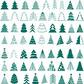 Christmas trees icons big set vector illustration. Different styles.