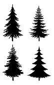 Christmas Fir Trees Set, Black Silhouette Pictograms Isolated On White Background, Winter Holiday Symbols. Vector