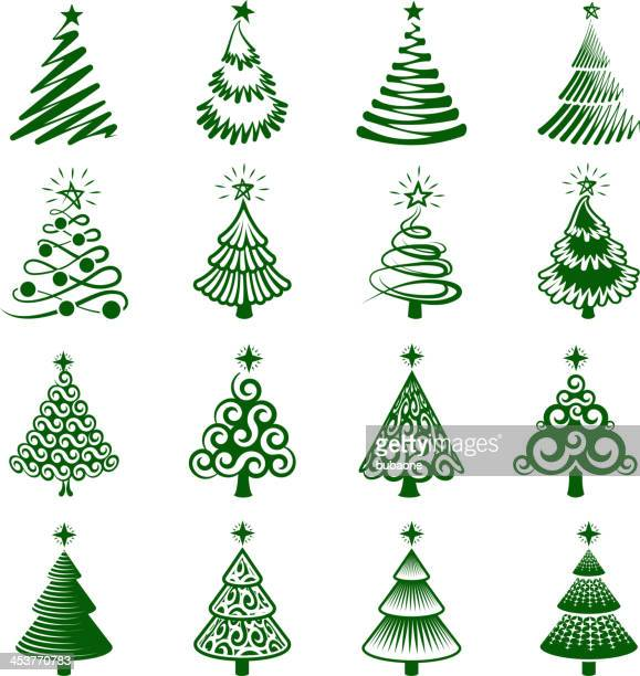 Christmas Trees royalty free vector icon set