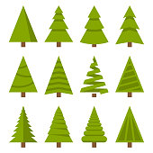 Christmas Trees Set on White Background. Flat Style Vector